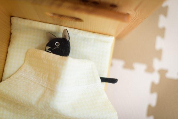 おままごとの布団に横たわる猫