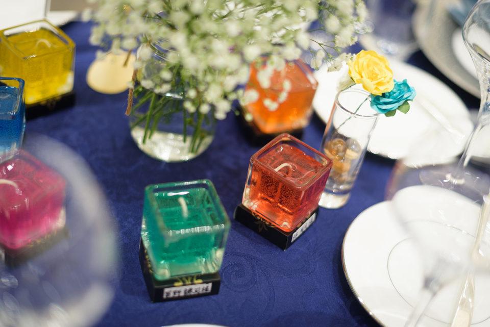 ゲストテーブルに飾られたキャンドル
