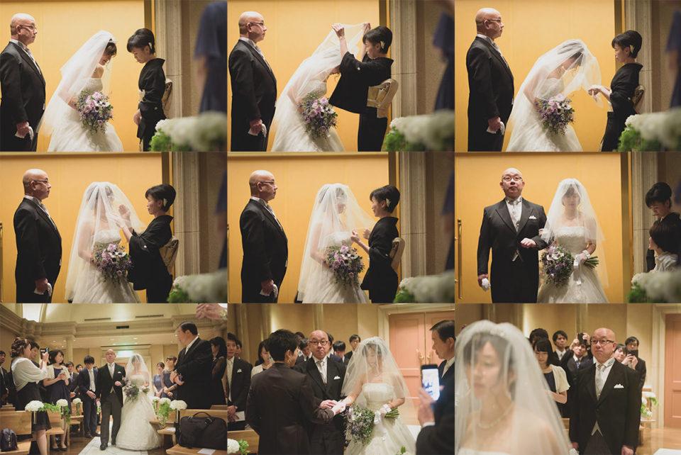 挙式の新婦入場の一連の写真